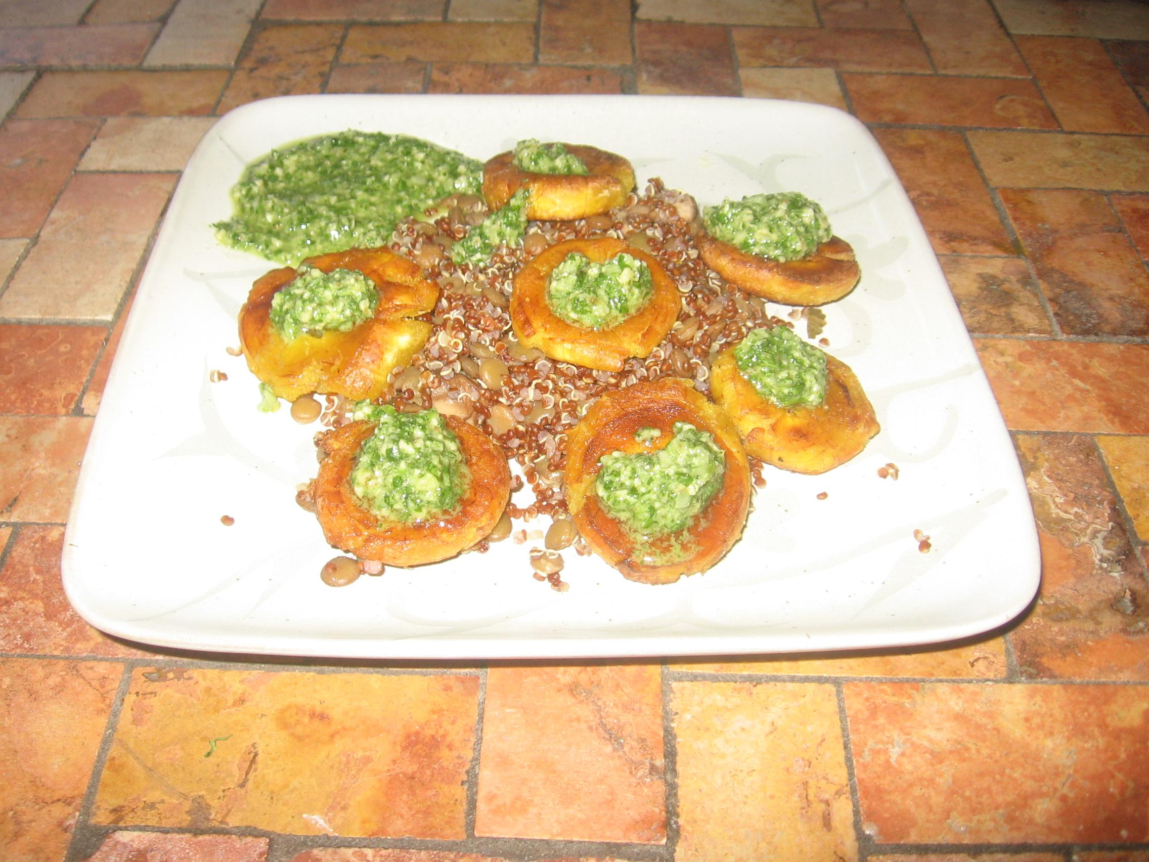 Fried Plantains with Cilantro Pesto Vegetarilins Blog